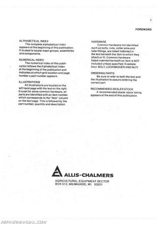 allis chalmers b110 parts manual