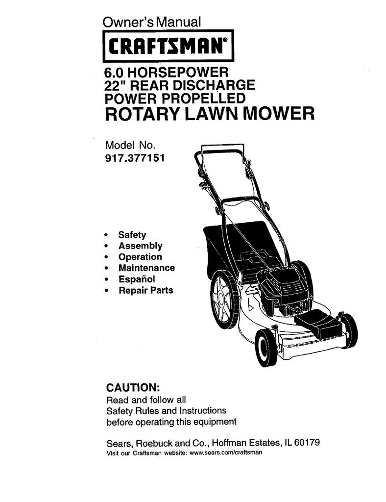 craftsman 22 mulcher 6.0 hp manual