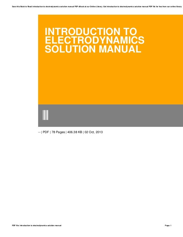 intro to electrodynamics solution manual