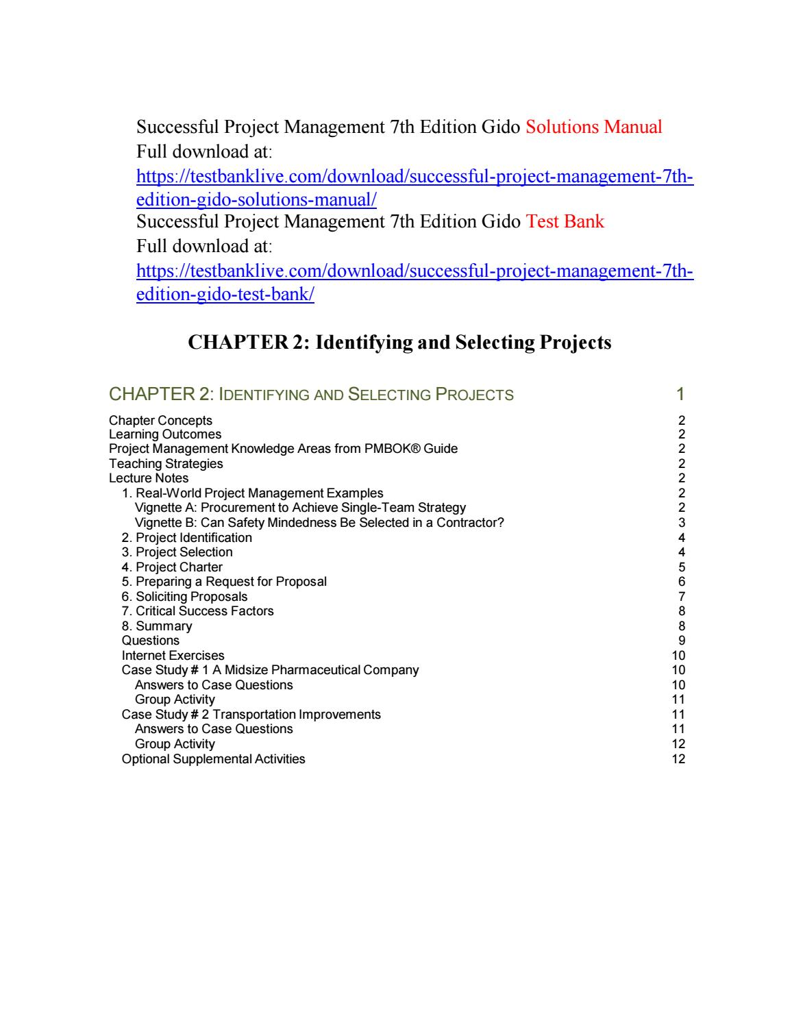 project management case studies 4th edition solutions manual