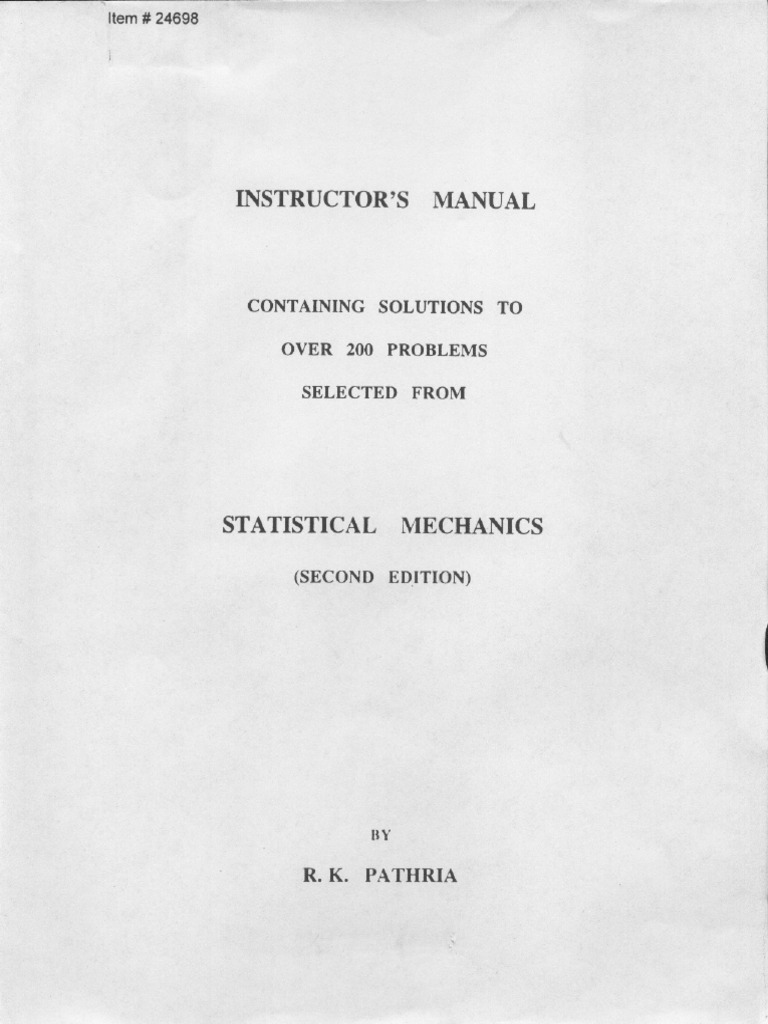 statistical mechanics pathria solutions manual free download