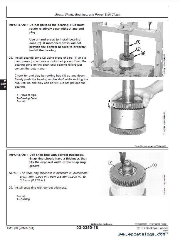 john deere 310g backhoe parts manual