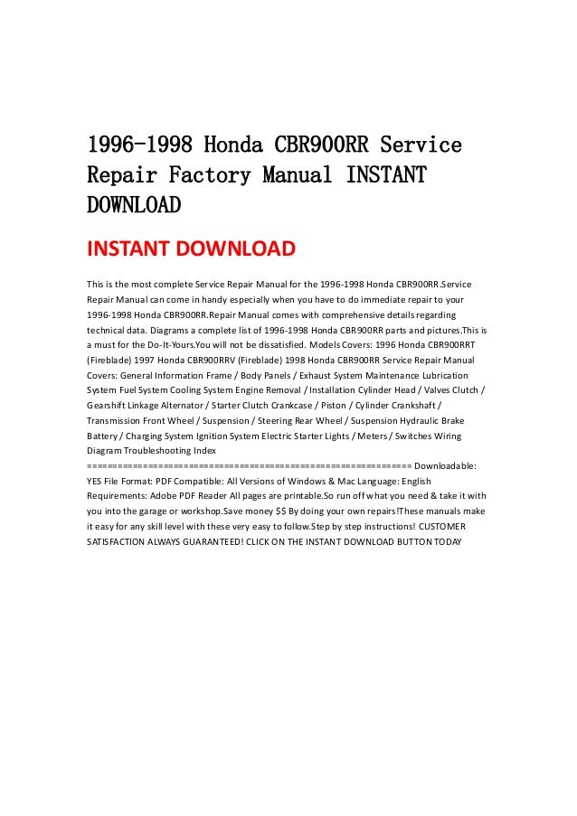 1996 honda cbr900rr service manual pdf