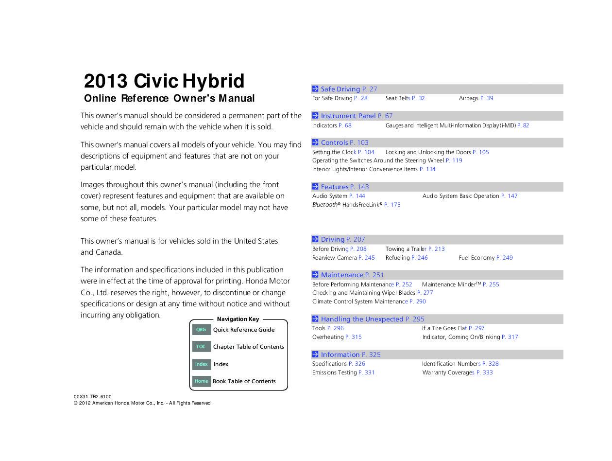 2013 honda civic repair manual