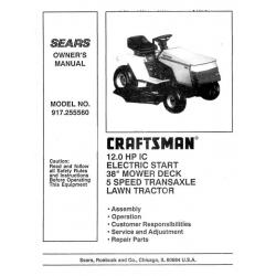 craftsman 20.5 hp lawn tractor manual