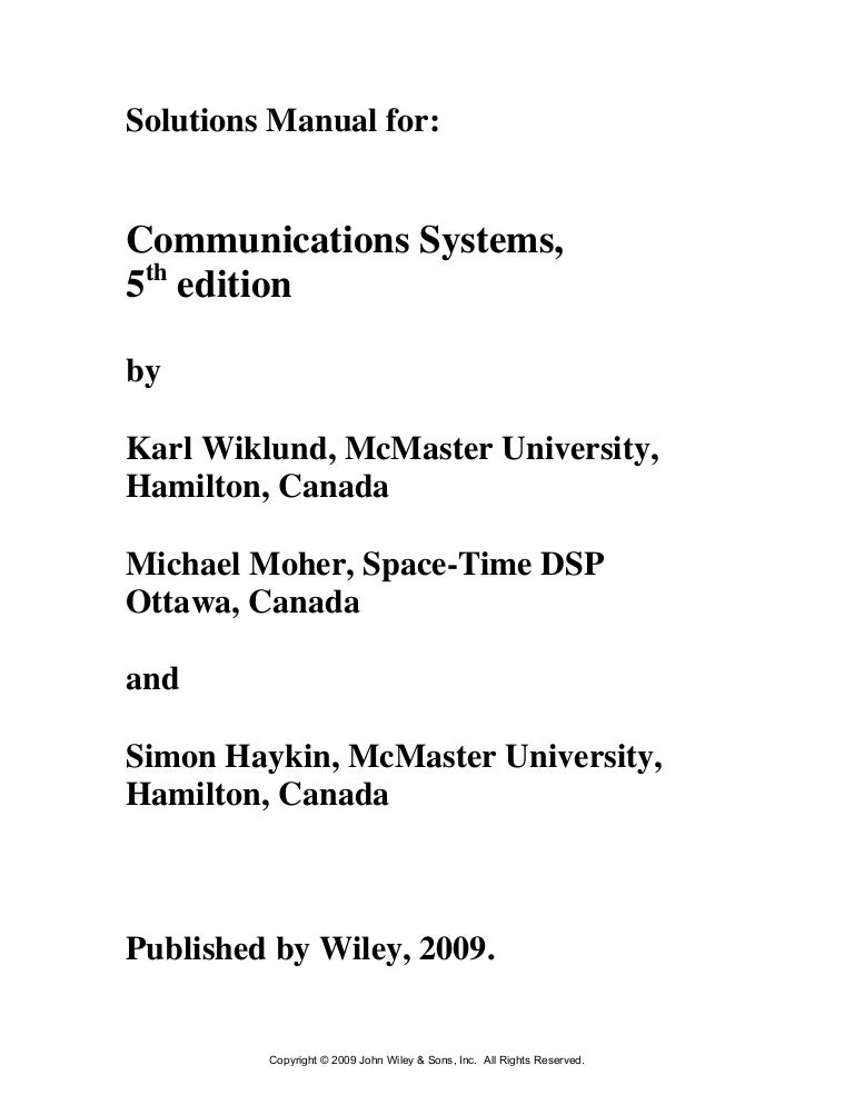 communication system engineering solution manual