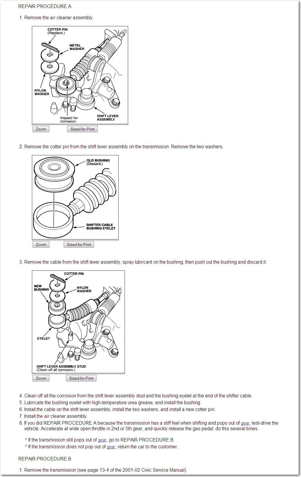 honda civic manual shift cable adjustment