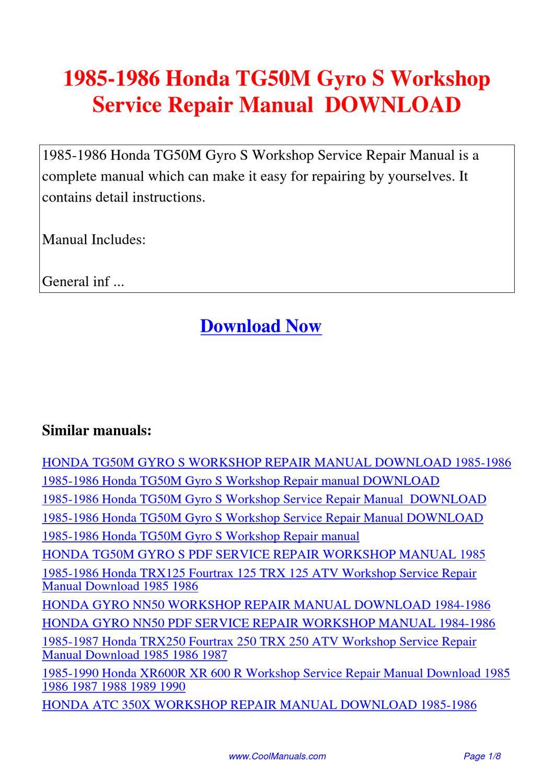 honda gyro canopy service manual pdf